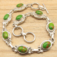 Green Copper Turquoise Gems Bracelet ! Silver Plated Over Solid Copper Modern