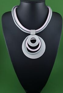 Lagenlook Style Necklace Multi Row Grey and Soft Lilac Matt Silver Rounds