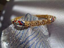 """Gold 13gm Enamel Bangle Bracelet 7 1/2"""" New Handmade Designer 18 K Solid Yellow"""