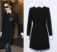 Womens Long Sleeve Black Skater Casual Block Shift Peter Pan Collar Dress 6-16