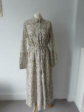 M & S PER UNA Ladies Beige Floral Pure Cotton Tiered Maxi Shirt Dress Size 12