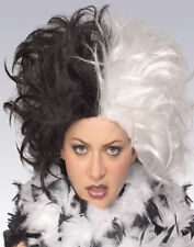 Ms.Spot Cruella De Vil Deville Vampire Rock Star Black and White Halloween Wig