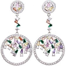 Made With Swarovski Crystal 18K White Gold Filled Round Colorful Formal Earrings