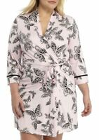 New Directions Women's Butterfly Wrap Nightgown  (Pink Black, Small/Medium)