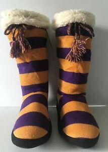 Muk Luks Slipper Socks Game Day Striped Tall Slippers Womens Large 9-10