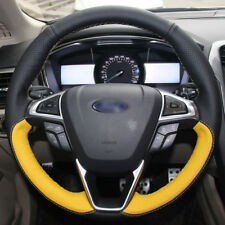 For Ford Mondeo 13-2015 Hand Sewing Black Yellow Leather Steering Wheel Cover