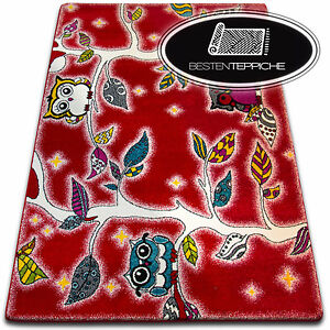 Rugs Soft and Tight Children Carpet Kids C427 Red Forest Owl Leaves