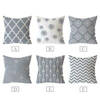 Geometric Decorative Cushion Cover Polyester Pillowcase Sofa Home 18*18Inch Gray