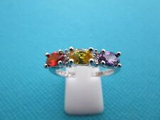 925 Silver Ring With Garnet, Citrine, Amethyst & White Topaz UK U, US 10(rg1464)