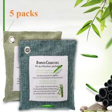 5 Air Purifying Bag Activated Natural Bamboo Charcoal Odor Absorber Breath Green
