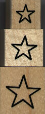 """mounted rubber stamps  Star Outline set   1/4"""" X 1 1/4"""",   1"""" X 1""""   3/4"""" X 3/4"""""""