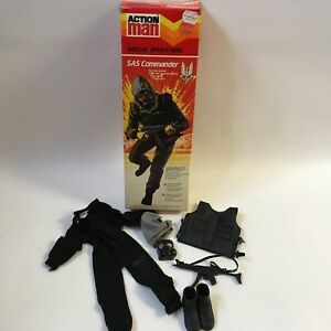 Vintage 1980's Palitoy Action Man Figure Box SAS Commander Soldier Uniform Rifle