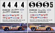 1:24 Decals for McLaren M6A team car - SEE TEXT 2 versions