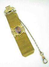 Amethyst Glass Pocket Watch Vest Chain Antique Gold Filled Woven Mesh Fancy
