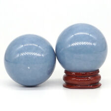 40MM Natural Gemstone Blue Angelite Crystal Reiki Healing Sphere Ball (1pcs)