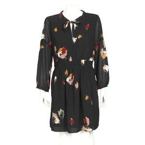 Madewell Cute Autumn Leaves Black Dress size 12 - 530