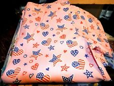 New listing 1 Size Small Novelty Scrub Top Patriotic Hearts Stars on Pink Used