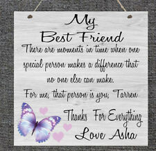 Personalised Best Friend Sister Nanny Wife Auntie Chic Plaque Gift Mother's Day