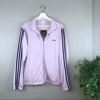 NWT adidas Violet Essential Knit Track Jacket Striped Sleeves Size Large NEW