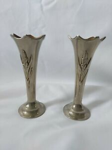 Vintage Pair Silver Metal Candle Stick Holders 13.5cm High