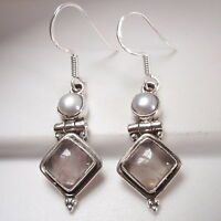 Rose Quartz Square and Cultured Pearl 925 Sterling Silver Dangle Earrings