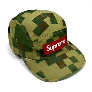 NWT Supreme Box Logo Military Camo Camp Cap Hat Olive Green Men's FW20 AUTHENTIC