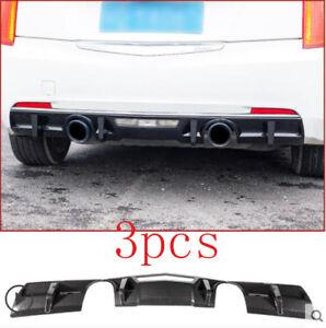 FIT For 2014-2017 Cadillac ATS ABS Carbon Fiber Rear Lip Bumper Diffuser 3PCS