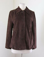 COACH Chocolate Brown Leatherware Leather Suede Button Front Jacket Size M