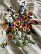 embroidered Canvas Piece For Cushion Cover Or Display