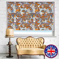Orange Blue Paisley Pattern Photo Printed Picture Roller Window Blinds Blackout