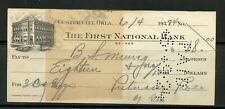 US THE FIRST NATIONAL BANK OF CUSTER CITY, OKLAHOMA CANCELLED CHECK 6/4/1924
