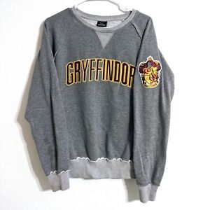 Harry Potter Gryffindor Embroidered Sweater Gray Size Medium Universal Studios