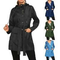Plus Size Women Coat Outdoor Waterproof Lightweight Rain Jacket Hooded Raincoat