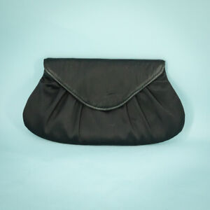 Lauren Merkin Clutch Bag Purse Black Satin Envelope Pink Lining Evening Party