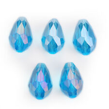 10x15mm 10pcs Faceted Crystal Glass Teardrop Loose Beads DIY Wedding Decoration#