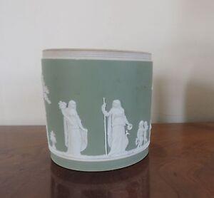 Antique Porcelain Cache Pot Planter Wedgwood Jasperware Sage Green 19th c. Vase
