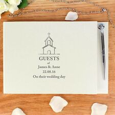 Personalised Hardback Church Design Wedding Guest Book With Pen Newlyweds Gift