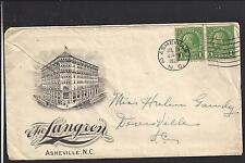"ASHEVILLE, NORTH CAROLINA COVER,1929 ILLUST HOTEL ADVT.  ""THE LANGREN"""