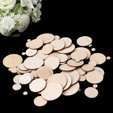 100pcs Unfinished Wooden Round Circle Discs Embellishments Art Crafts 10-50mm