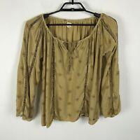 O'Neill Blouse Size S Brown Geometric Print Boho Long Sleeve Rayon Top Shirt