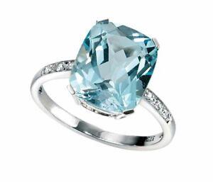 Blue Topaz And Diamond Ring 9ct White Gold 375 Hallmark Sizes L-Q Elements Gold