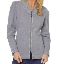 DG2 Studded Puff Sleeve Stretch Denim Jean Jacket $79.90 PURPLE XS