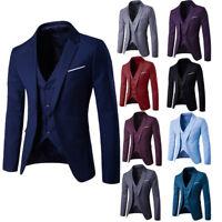 Men Business Formal 3 Pcs Suit Bridegroom Wedding Dress One Button Slim Fit Coat