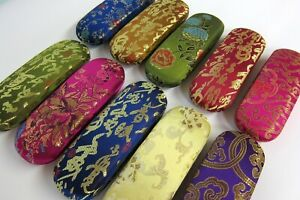 Chinese Oriental Embroidered Brocade Hard Spectacle Glasses Case