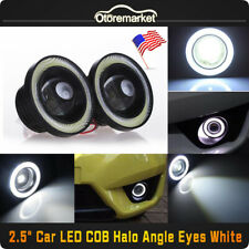 "2pcs White 2.5"" COB LED Projector Lens Angel Eye Ring Halo Fog Driving Light SUV"