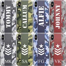 Personalised Initials Phone Case, Army Camo Hard Cover For Apple iPhone 11/XS/SE