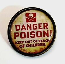 Poison Label Brooch Steampunk Danger Antique Bronze Tone Ladies Gothic NEW