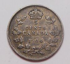 1904 Five Cents Silver VF Toned HIGH Grade BETTER Date King Edward VII Canada 5¢