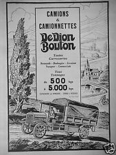 PUBLICITÉ 1924 DEDION BOUTON CAMIONS & CAMIONNETTES 500 KGS 5000 KG- ADVERTISING
