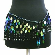 Belly Dance Lace Shiny Sequin Hip Scarf Belt Wrap -- Black/Multi